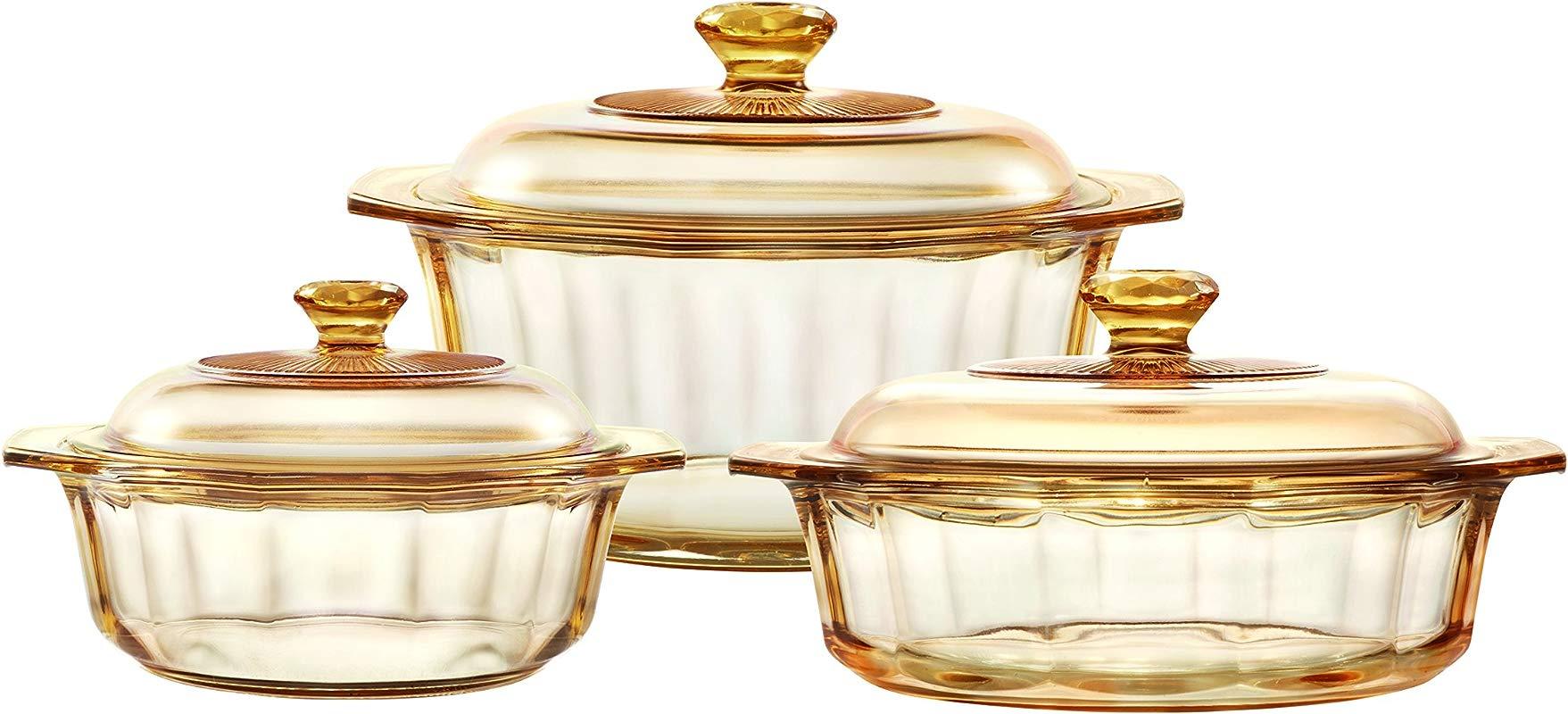 VISIONS Pyroceram Glass Diamond 6Pc Casserole And Cookpot Pot Set Brown