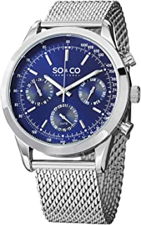 So & Co New York Monticello Men's Quartz Watch With Blue Dial Analogue Display and Silver Stainless Steel Bracelet 5006A.2