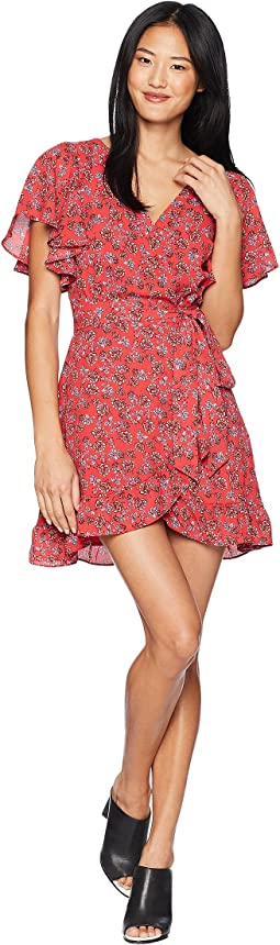 "Friendly Fire ""Bella Rose"" Printed Crepe de Chine Wrap Dress"