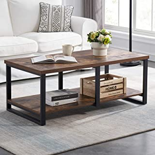 MHAOSEHU Industrial Coffee Table for Living Room, Sturdy Wood and Metal Cocktail Table with Open Storage Shelf, 47 inch Ru...