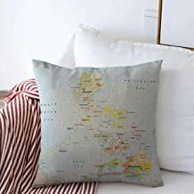 Starosa Throw Pillows Cover 18 x 18 Inches Blue Cebu Philippines Country Administrative Area Map Color Political Palawan China Manila Asia Luzon Cushion Case Cotton Linen for Fall Home Decor