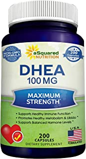 DHEA (100mg Max Strength, 200 Capsules) to Promote Balanced Hormone Levels for Women..