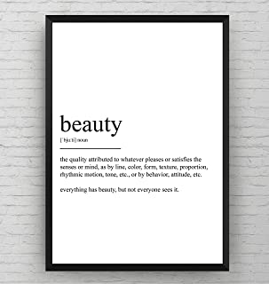 Beauty Definition Print - Salon Poster - Black and White Typography Hairdressers Wall Art Quote Decor - Frame Not Included