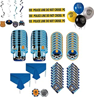 Police Party Supplies - 88 Piece Cop Party Supplies Set with Decorations, Plates, Napkins,  and Tablecloths - Serves 16