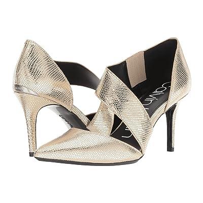 Calvin Klein Gella Pump (Soft Gold Shiny Lizard) High Heels