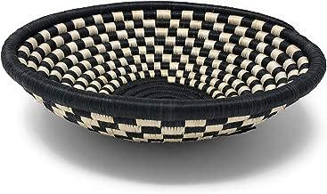 The Barrington Garage Handwoven Rwandan Checkered Sisal Basket, Black/Ivory, Large