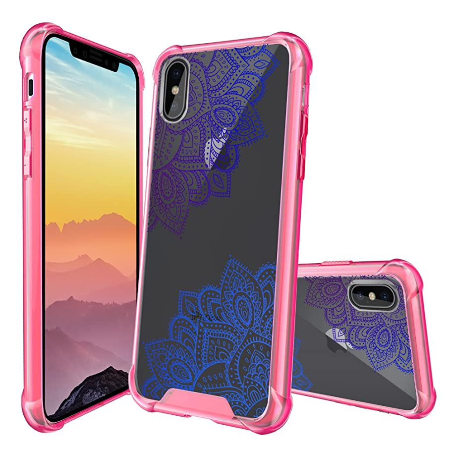 MINITURTLE Case Compatible with Apple iPhone X/iPhone XS (2018) [Crystal Clear & Pink Bumper][Cute Mandala Case Series] Smudge-Resistant Protective Case PC + Pink TPU Bumper - Purple Blue Mandalas