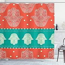 Ambesonne Hamsa Decor Collection, Bohemian Style Inspirational Ethnic Boho Hamsa Hand Illustration Pattern Mandala Art Print, Polyester Fabric Bathroom Shower Curtain Set, 75 Inches Long, Coral Teal