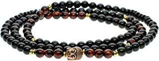 COAI 108 Red Tiger Eye Obsidian Stretch Bracelet Necklace