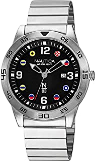 Nautica Men's Quartz Brass Strap, Silver, 20 Casual Watch (Model: NAPPAS102)