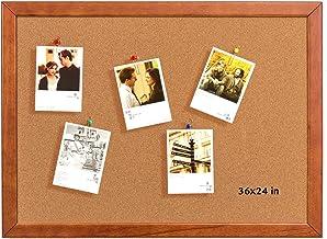 Cork Board 24 x 36 Inch Bulletin Board, Cork Notice Board 100% Wood Framed Brazil Imported, Mounting Hardware Push Pins In...