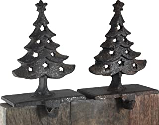 Creative Co-op Christmas Trees Cast Iron Christmas Stocking Holder Set of 2