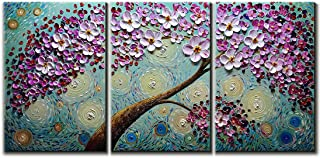 V-inspire Art,16x24Inchx3 Hand-Painted Oil Paintings on Canvas Wall Art Blooming Life Abstract 3D Hand-Painted Flower Art Modern Home Decoration Abstract Artwork Art 3 Panels Wood Inside Framed Hangin