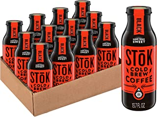 SToK Cold-Brew Iced Coffee, Black Not Too Sweet, 13.7 Ounce, 12 Count