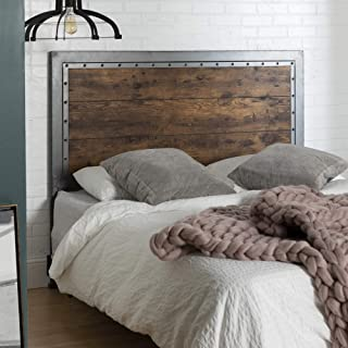 WE Furniture Bed/Headboard, Queen, Brown