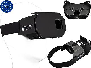 VR-PRIMUS Google Cardboard Gafas de Realidad Virtual VR | para Smartphones Android y iOS como iPhone, Samsung, HTC, Sony, LG, Huawei, Lenovo y más | 3D Virtual Reality VR Headset | Negro