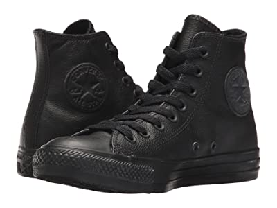 Converse Chuck Taylor(r) All Star(r) Leather Hi (Black Mono Leather) Classic Shoes