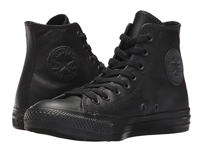 Converse Converse Chuck Taylor(r) All Star(r) Leather Hi (Black Mono Leather) Classic Shoes from | Daily Mail