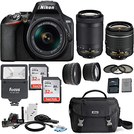 $499 Get Nikon D3500 DSLR Camera with AF-P 18-55mm and 70-300mm Zoom Lenses with Total of 64GB Card (2 X 32) and Accessory Bundle
