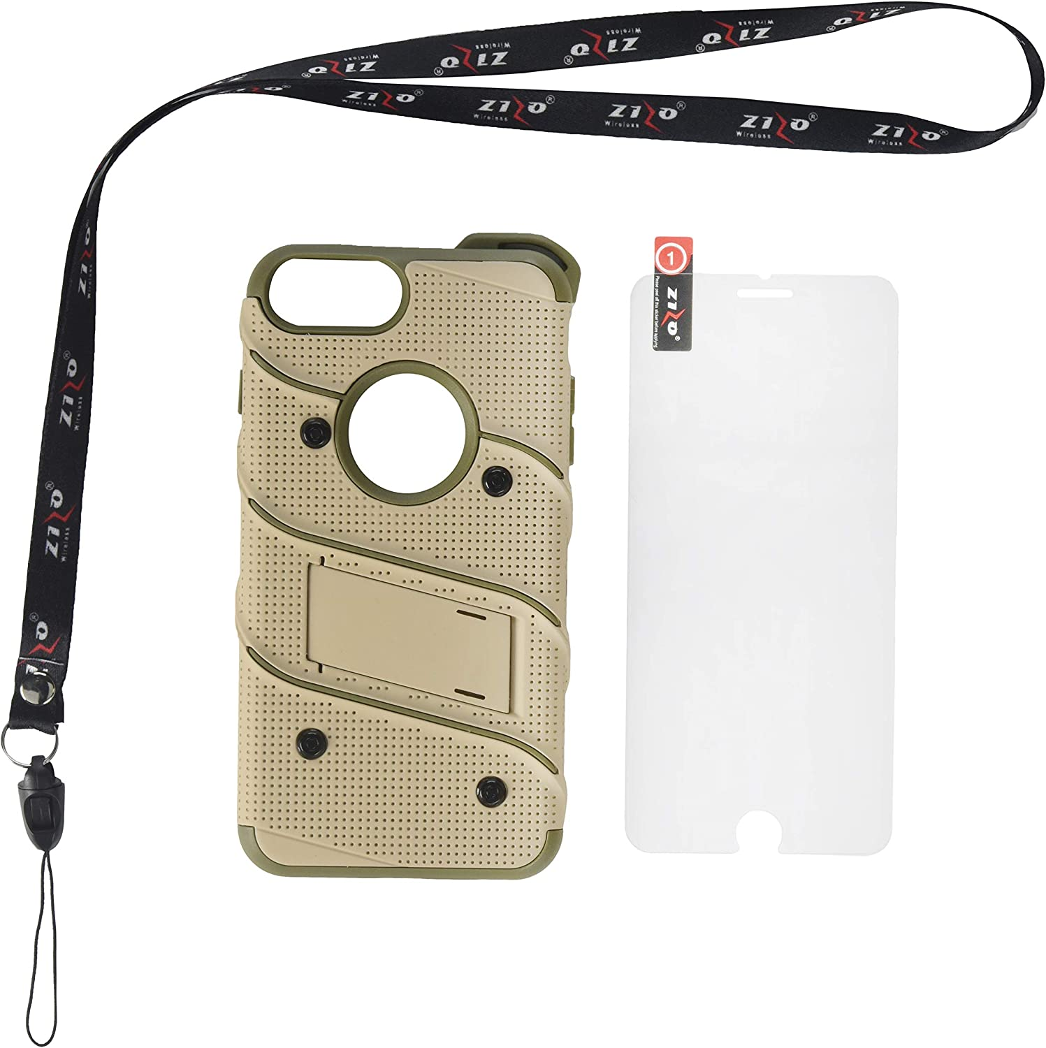 ZIZO Bolt Series for iPhone 8 Plus Case Military Grade Drop Tested Glass Screen Protector Holster iPhone 7 Plus case Desert TAN CAMO Green