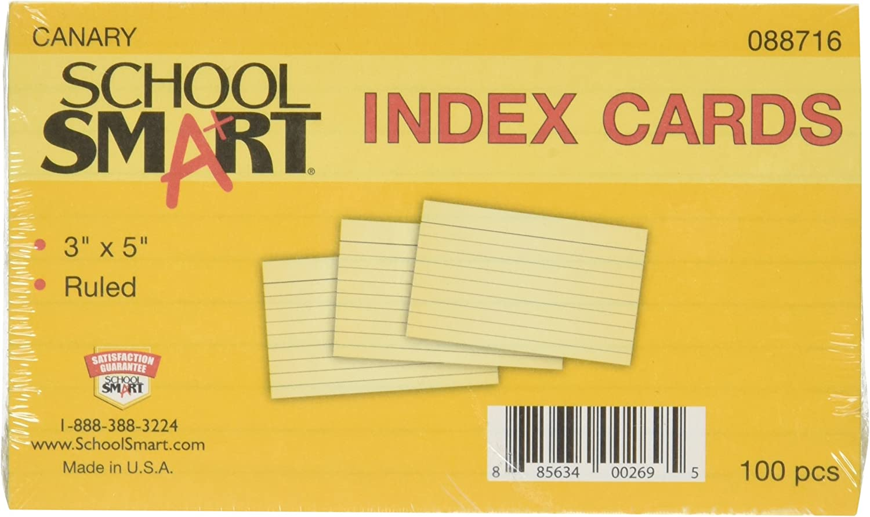 Schule smart Schwergewicht liniert Index Karten – 7,6 x 12,7 cm – Pack von 100 – Kanarischen B003U6N0YE | Vielfältiges neues Design