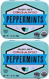Trader Joe's Organic Peppermints, 1.41 oz Tin (Pack of 2)