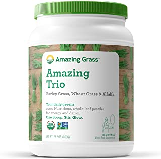 Amazing Grass Amazing Trio: Organic Greens Powder with Wheatgrass, Barley Grass and Alfalfa, 2 Servings of Greens per Scoop, 100 Servings