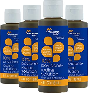Mountain Falls 10% Povidone Iodine Solution First Aid Antiseptic for Minor Burns, Cuts, and Scrapes, 4 Fluid Ounce (Pack of 4)