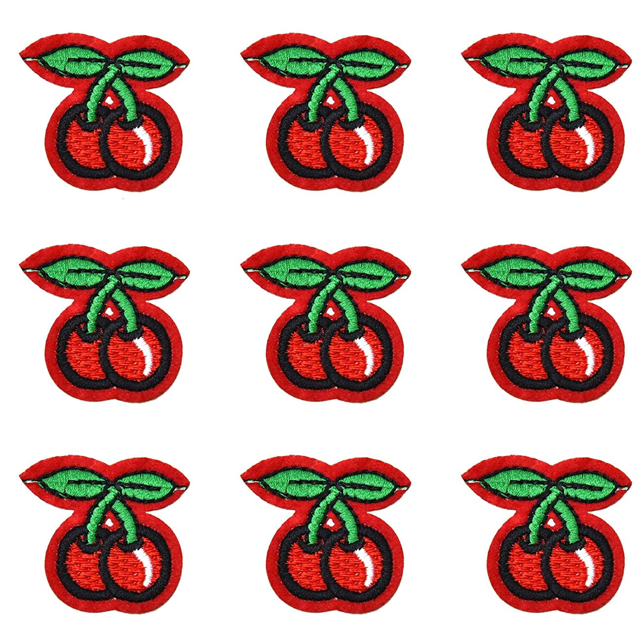Monrocco 25Pcs Red 2 Cherries Sew Iron On Embroidered Patches Appliques for Clothing, Backpack, Caps, Repair The Hole Stick