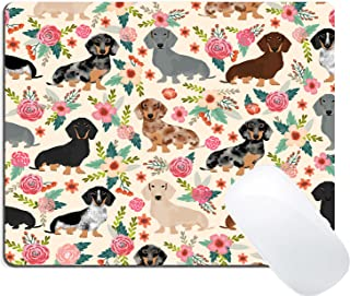 Wknoon Dachshund Sausage Dogs Puppies Pink Flowers Print Art Gaming Mouse Pad Custom, Cute Colored Floral Daschund Seamless Dog Design Print Art