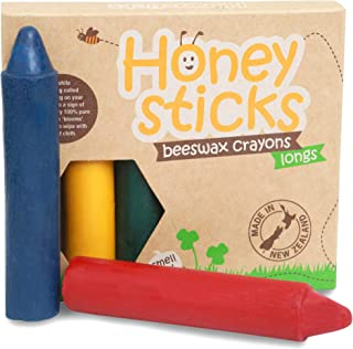 Honeysticks Wachsmalstifte aus 100% reinem Bienenwachs 6er Pack, die Dünnen, natürlich, sicher für Babys, Kleinkinder und Kinder, handgemacht aus Neuseeland, geeignet für ältere Kinder