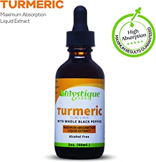 Turmeric Curcumin Liquid Extract Supplement Made with Organic Turmeric and black pepper as a bioperine. Natural Anti-inflammatory supplement for Joint Pain and Back Pain Relief. Best tincture for kids