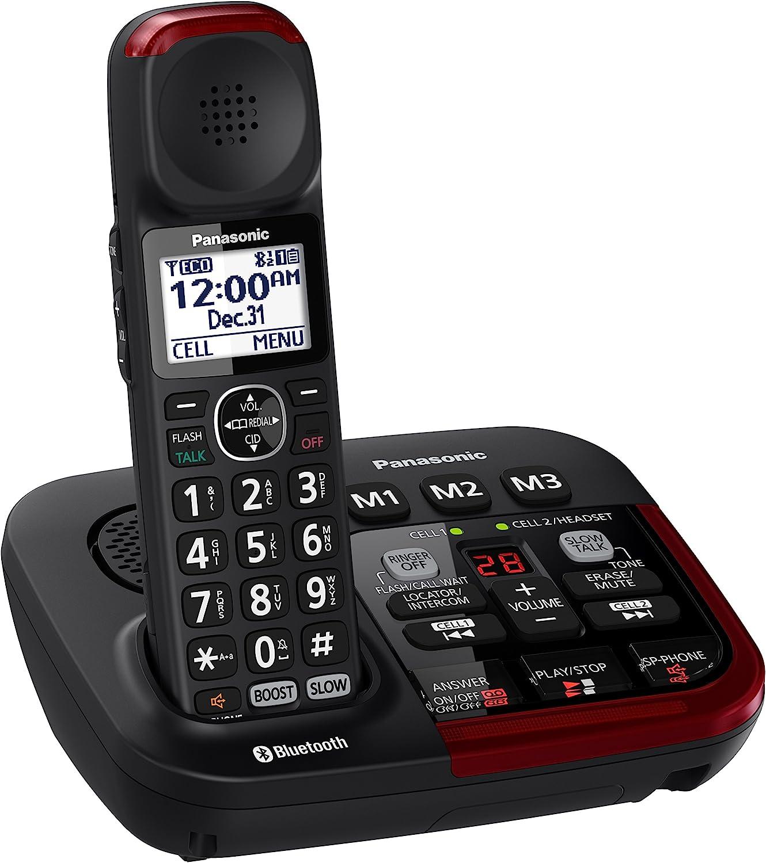 PANASONIC Link2Cell KX-TGM430B Bluetooth Amplified Cordless Phone with Digital Answering Machine Talking Caller ID Keypad and Phonebook - 1 Handset (Black)