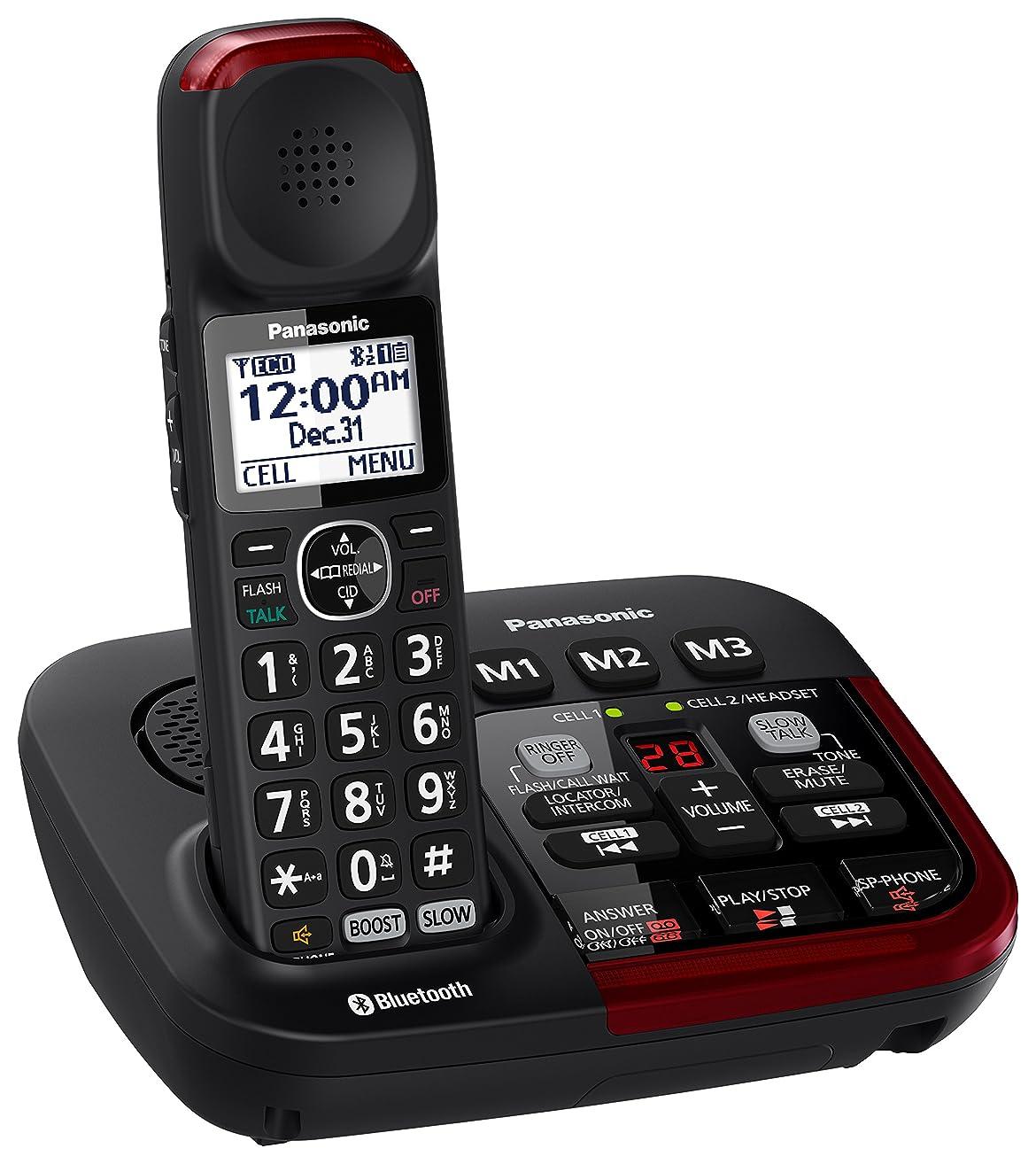 PANASONIC Link2Cell Bluetooth Cordless Phone with Answering Machine KX-TGM430B - 1 Handset (Black)