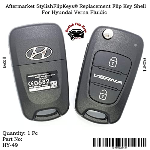 Sfk Replacement Flip Key Shell For Hyundai Verna Fluidic