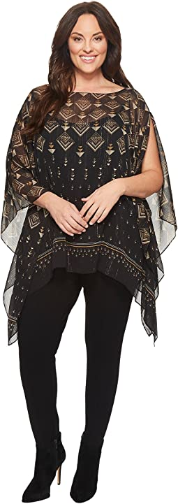 Vince Camuto Specialty Size - Plus Size Deco Highlights Panel Print Poncho