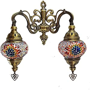 Handmade Turkish/Moroccan/Tiffany/Bohemian Style Double Glass Mosaic Wall Lamp Light (MC7)