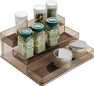 iDesign Twillo Plastic Stadium Spice Rack, 3-Tier Organizer for Kitchen Pantry, Cabinet, Countertops, Vanity, Office, Craft Room, 9.2