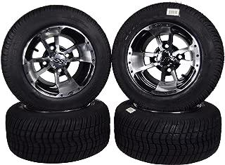 MASSFX Golf Cart Tire on Machined Wheel 205/50-10 Tire 10x7, 4/4 Rim (4 PACK)