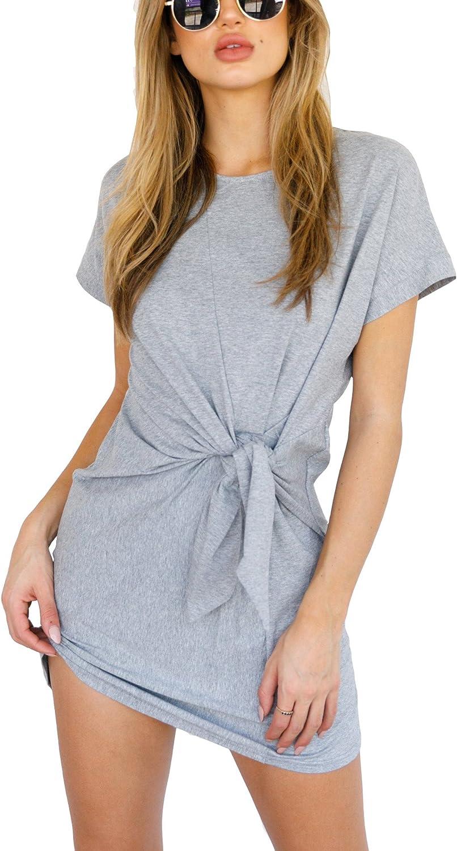 Eliacher Women's Short Sleeve Tie-up Waist Casual Loose T-Shirt Dress