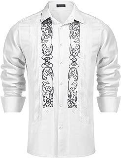 Men's Long Sleeve Guayabera Cuban Shirt Casual Button Down Linen Shirt for Beach,Wedding
