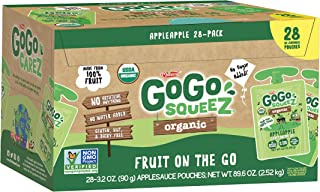 GoGo squeeZ Organic Applesauce on the Go, Apple Apple, 3.2 Ounce (28 Pouches), Gluten Free, Vegan Friendly, Healthy Snacks...