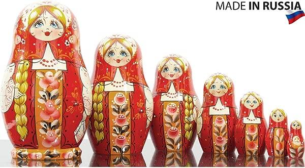 Russian Nesting Doll Vjatka Girl In Traditional Red Costume Hand Painted In Russia Traditional Matryoshka Babushka
