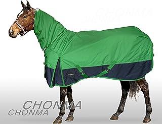 CHONMA Horseware 600D Ripstop 250G Fill Winter Waterproof Heavyweight Fixed Neck Combo Green Turnout Horse Rug