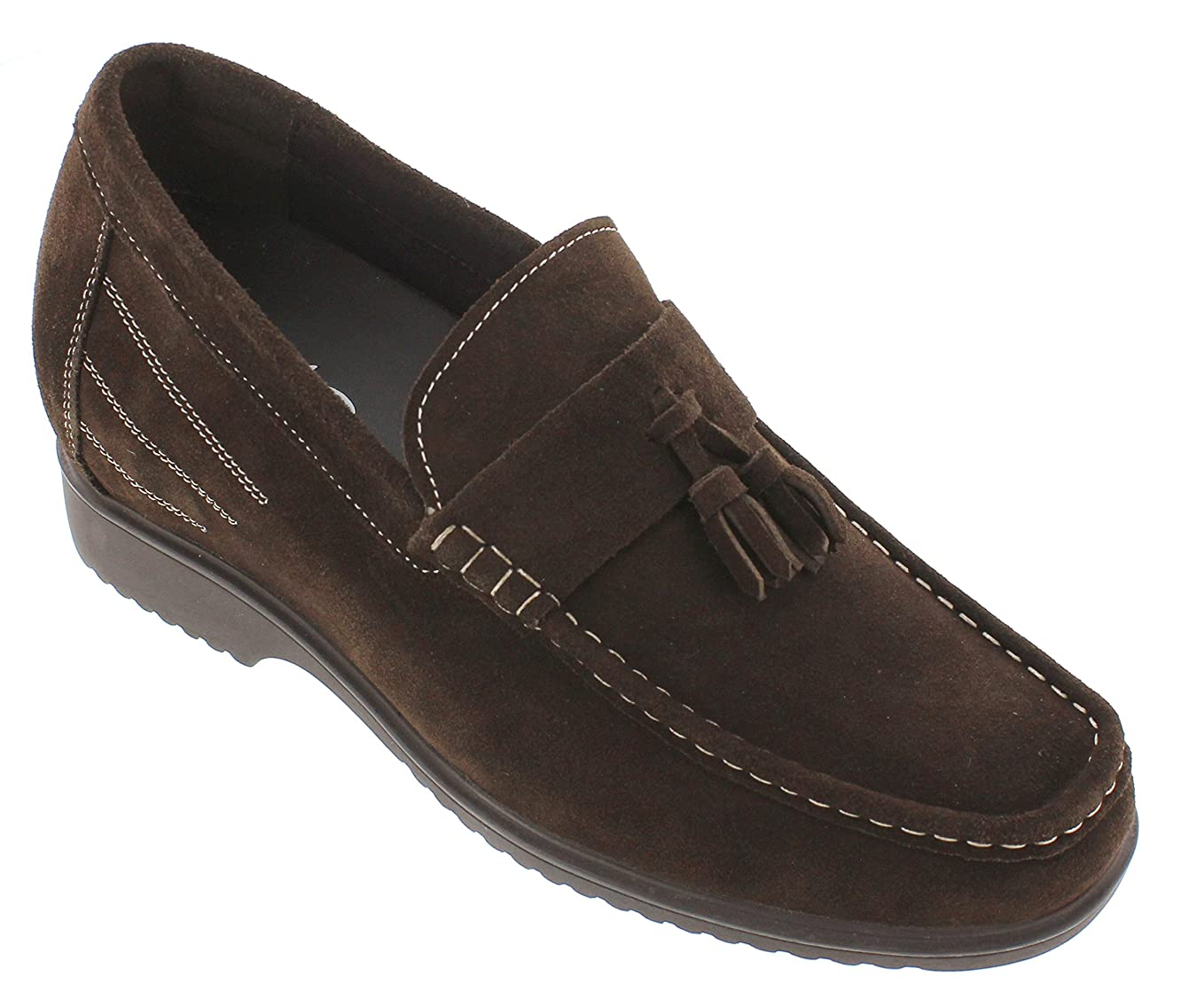 CALTO Men's Invisible Height Increasing Elevator Dress Shoes - Dark Brown Suede Leather Slip-on Formal Tasel Loafers - 3.3 Inches Taller - G61211