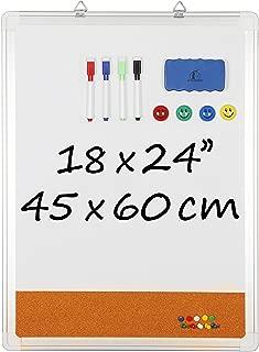 "Whiteboard Bulletin Board Set – 18 x 24"" Dry Erase/Cork Board + 1 Magnetic.."
