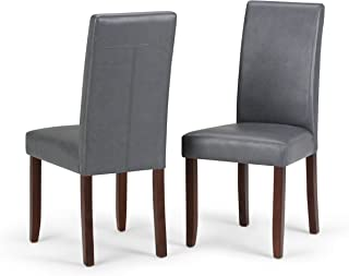 Simpli Home WS5113-4-G Acadian Contemporary Parson Dining Chair (Set of 2) in Stone Grey Faux Leather