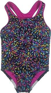 Speedo Big Girls' Youth Solid Splice Cross-Back One-Piece Swimsuit (6, Multicolor)