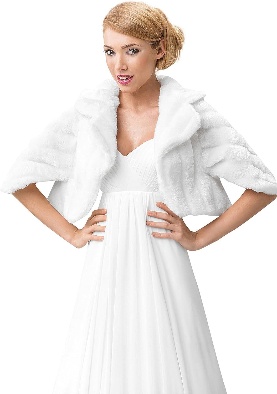 Wedding Faux Mink Fur Bolero Bridal Shawl Wrap Stole Shrug Fully Lined