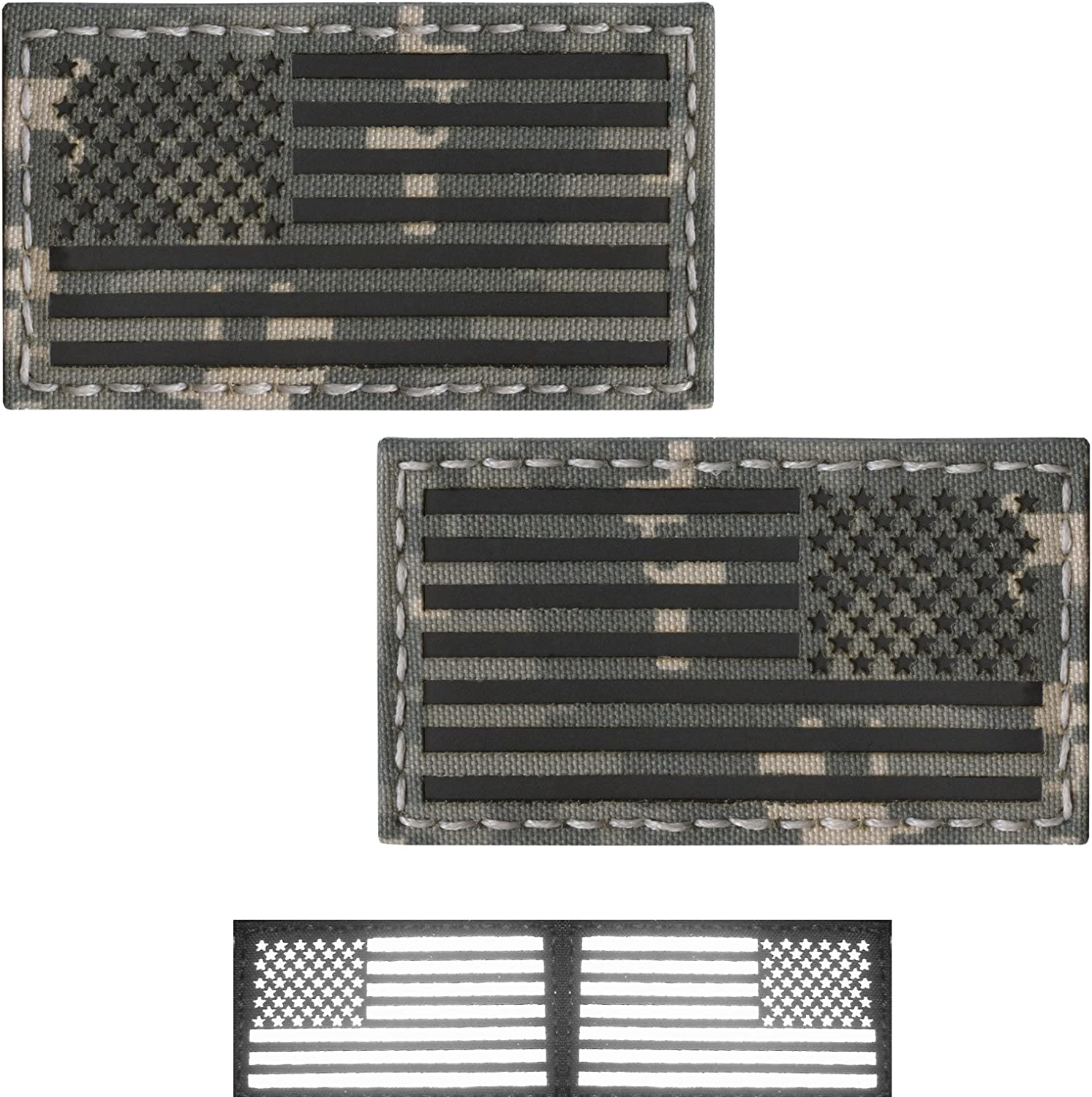 Bundle Set of 2 ACU Infrared IR USA American Flags Forward and Reversed 3.5x2 Morale Fastener Patches